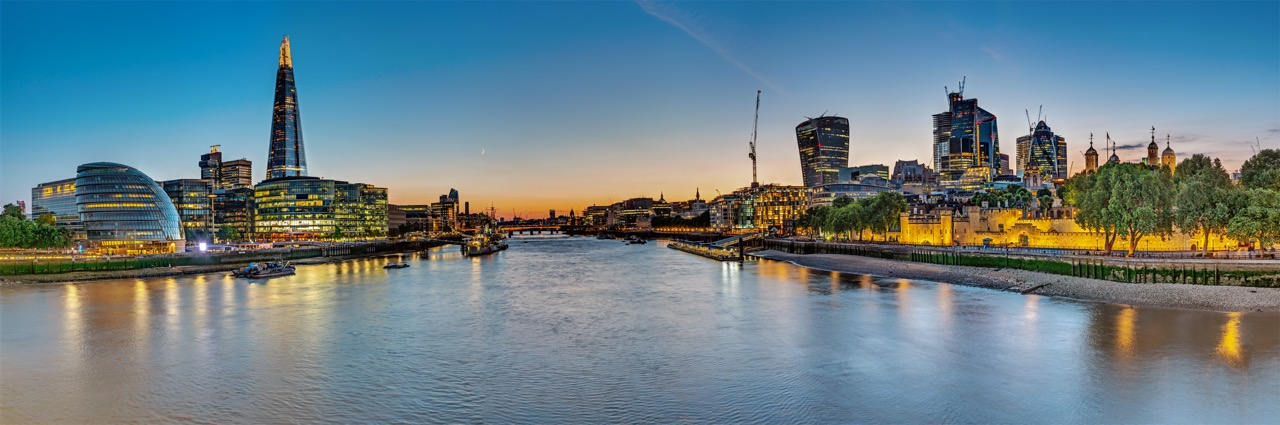 Panorama of the river Thames in London